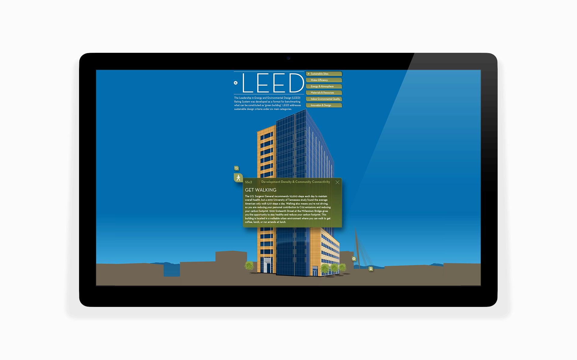 leed educational interactive kiosk