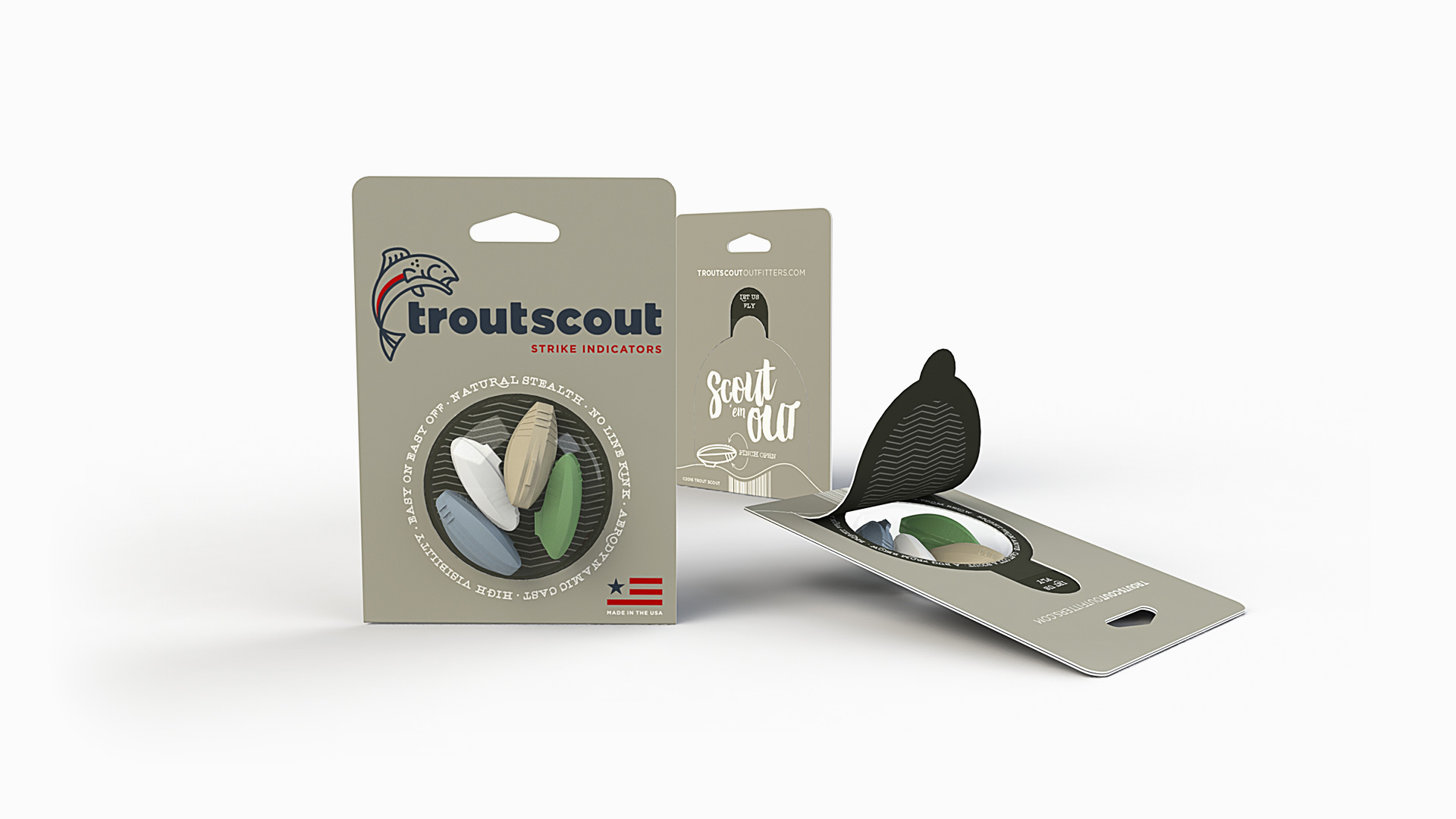 troutscout outfitters blister packaging design